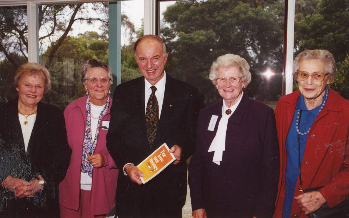 Doris Cater, Shirley James, Margaret McGregor and Joan Gerrand, with Sir James Gobbo at the opening of the new youth centre, September 2000.