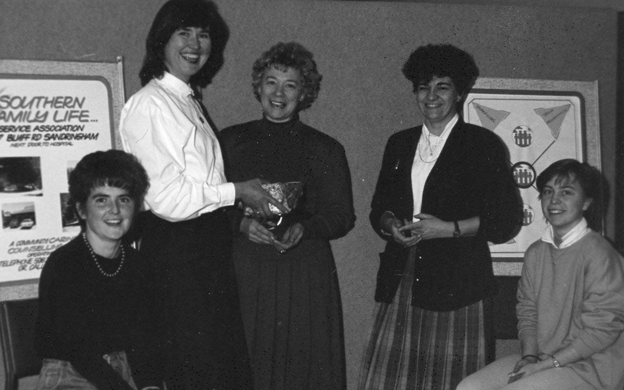 SMYLE Farewells Mary Shaw July 1990, Tutor Tracey Burchall, Coordinator Luanne Erickson, Director SFL Mary Shaw, SMYLE ESL Consultant Nellie Raffa, Tutor Ruth Sterrey.